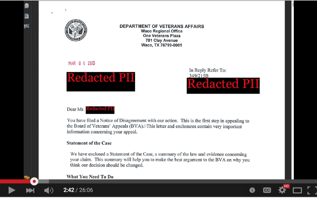VIDEO: Statement of the Case Example –  How to Read and Understand this VA Form (Video).