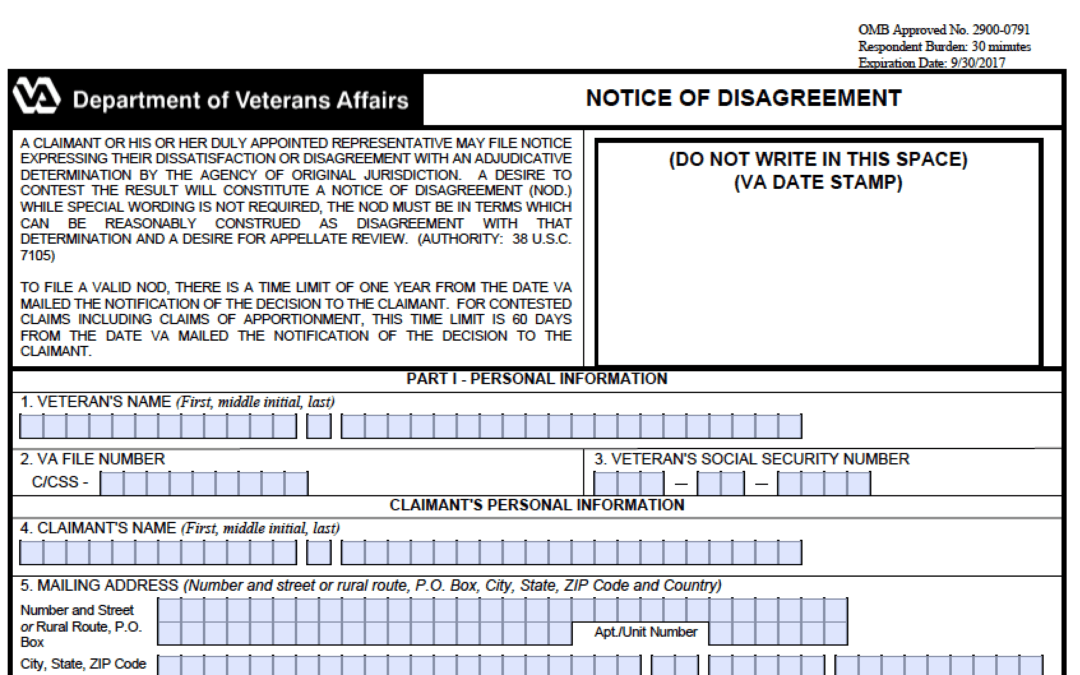 Video Class: Walkthrough a VA Notice of Disagreement (NOD)